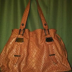 Jessica Simpson- large pink coral croc satchel
